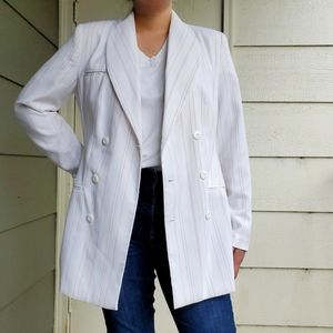 MetroStyle | White and Pink Double-Breasted Blazer